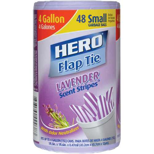 Hero Lavender Stripes Flap Tie Garbage Bags, 4 Gallon, 48 Ct