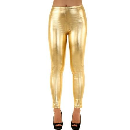 LAVRA Women's Metallic Shiny Leggings (Shiny Pants)