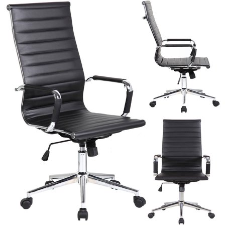 2xhome - Designer Boss PU Leather with Arms wheels Swivel Tilt Adjustable Executive Manager Mid Century Office Chair High Back Ribbed Modern Work Task Computer Black Desk