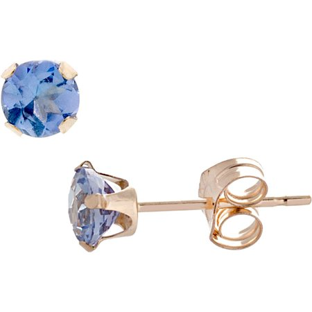 14K Solid Gold 4Mm Round Tanzanite Stud Earrings