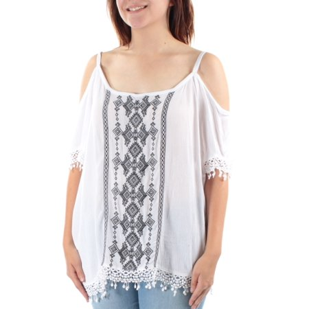 INC Womens Navy Embroidered  Cut Out Shoulders Short Sleeve Scoop Neck Vest Top  Size: 10