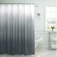 Creative Home Ideas Ombre Textured Shower Curtain with Beaded Rings, Dark Grey
