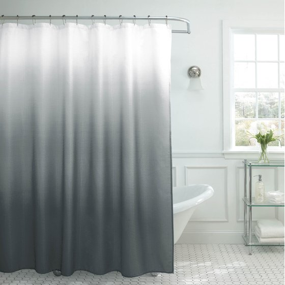 Creative Home Ideas Ombre Textured Shower Curtain with Beaded ...