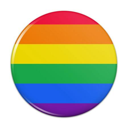 Pride Rainbow Button - Rainbow Pride Gay Lesbian Contemporary Kitchen Refrigerator Locker Button Magnet - 1