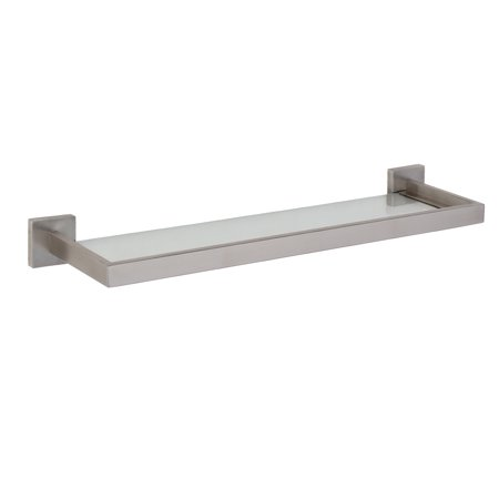 Tribeca Bathroom Floating Glass Wall Shelf Brushed Nickel Walmartcom