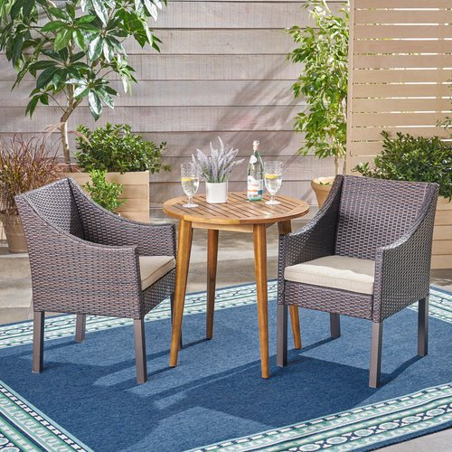 Bungalow Rose Rodden Outdoor 3 Piece Bistro Set with Cushions