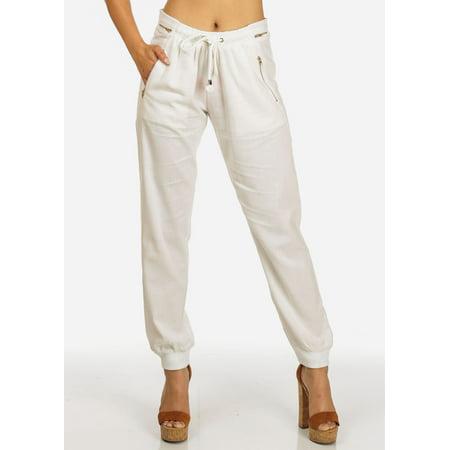 Womens Juniors Ivory High Rise Zipper Accents Drawstring Waist Linen Pants 10997I