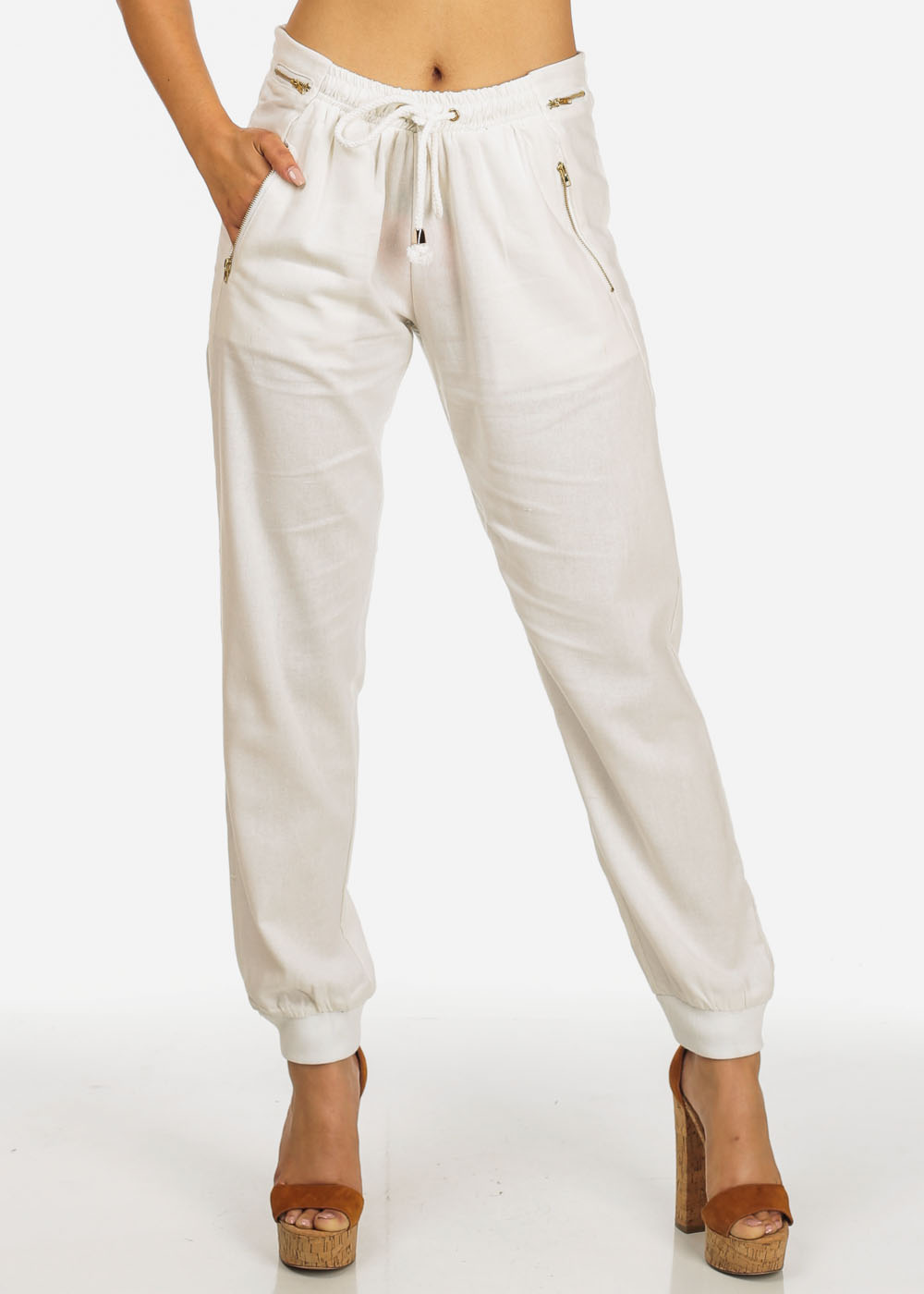 Womens Juniors Ivory High Rise Zipper Accents Drawstring Waist Linen Pants 10997I
