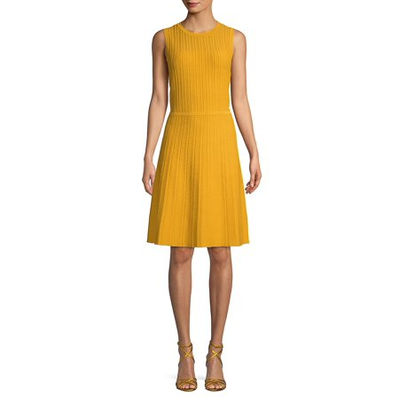 Textured Cotton Blend A-Line Sweater Dress (Ak Anne Klein Sport Womens Guardian Dress Pump)