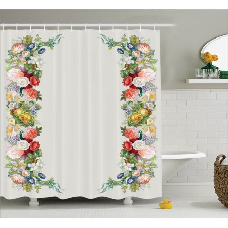 Victorian Decor  Rose Garland In Pastel Tones Jasmine Cornflower Bouquet Classic Bloom Graphic, Bathroom Accessories, 69W X 84L Inches Extra Long, By Ambesonne (Jasmine Accessories)
