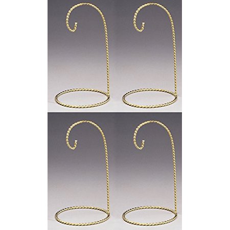 Metal Ornament Display Stands Twisted Brass - 7 Inch - Pack of 4 Pieces