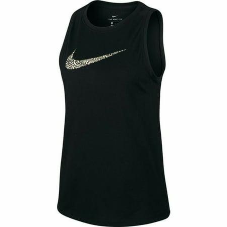 Nike Women's Dri-FIT Leopard Swoosh Training Tank Top CW1179-010 Black
