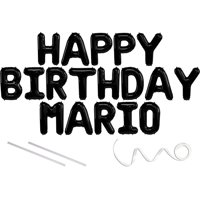 Mario, Happy Birthday Mylar Balloon Banner - Black - 16 inch Letters. Includes 2 Straws for Inflating, String for Hanging. Air Fill Only- Does Not Float w/Helium. Great Birthday Decoration