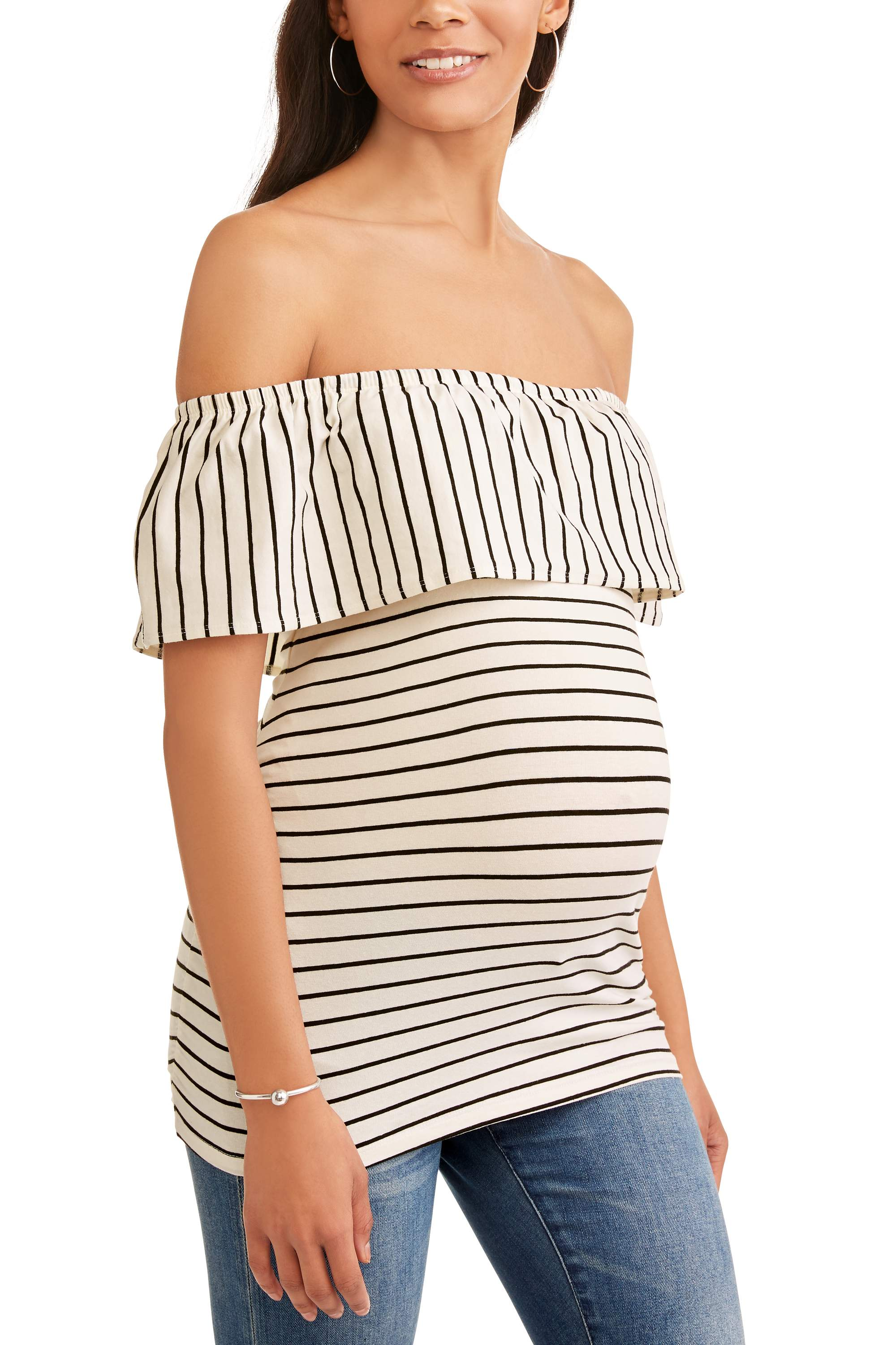 Maternity Off The Shoulder Stripe Knit Top with Flattering Side Ruching-- Available In Plus Sizes by Generic