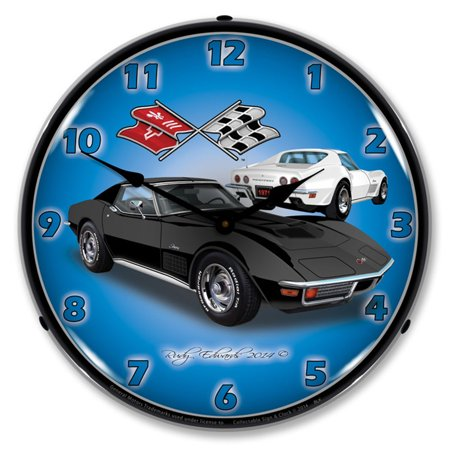 1971 Corvette Stingray, Black LED Wall Clock, Retro/Vintage, Lighted, 14