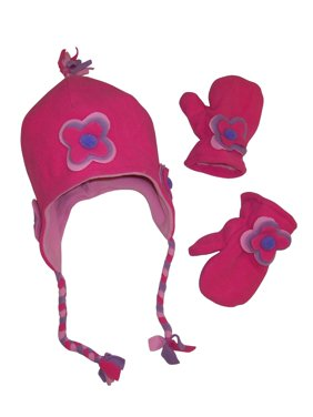 NICE CAPS Little Girls Fully Lined Micro Fleece Hat Mitten Appliques Winter Accessory Set - Fits Toddler Childrens Youth Kids Sizes For Cold Weather Snow