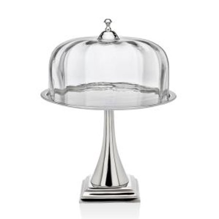 Contemporary Nickel Plated Glass Cake Stand Pedestal Plate