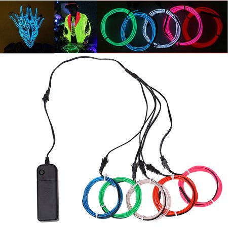 5 Colors 1M Flexible EL Wire Rope Neon Light Lamp Glow Decorative Party Dance (Neon Glowing Strobing Electroluminescent Wire)