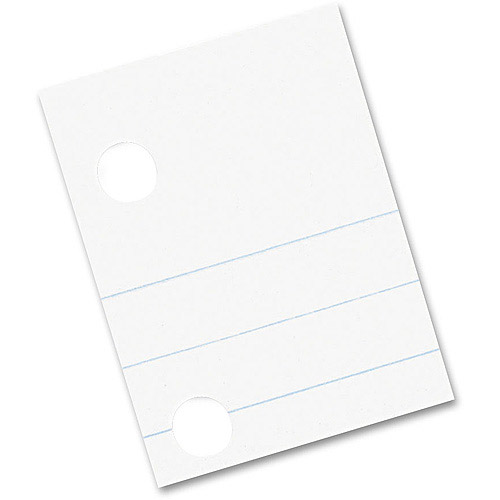 Pacon Composition Paper, Red Margin, 5-Hole Punched, White