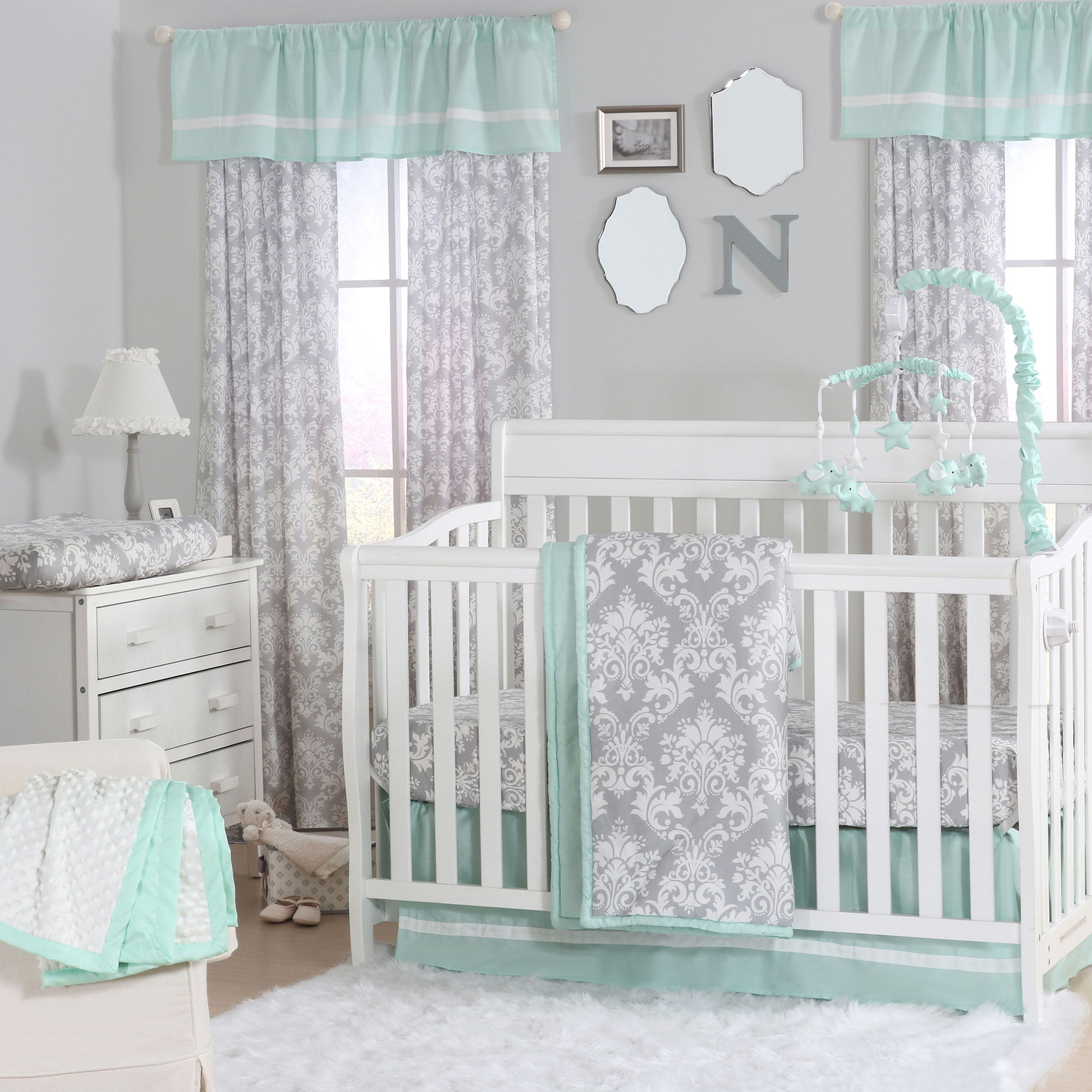 Grey Damask and Mint Green 4 Piece Baby Girl Crib Bedding ...
