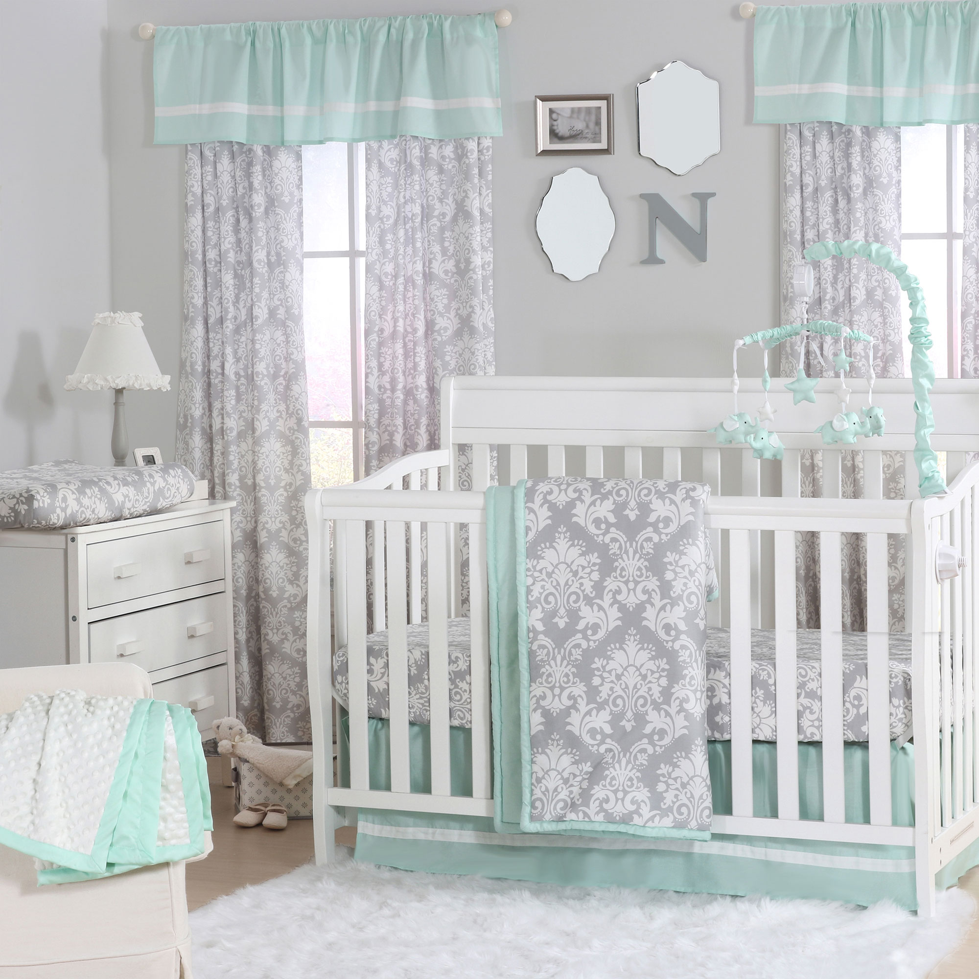 The Peanut Shell 3 Piece Baby Crib Bedding Set - Grey Damask and Mint Green - 100% Cotton Quilt, Crib Skirt and Sheet