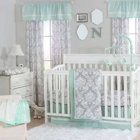 The Peanut Shell 3 Piece Baby Crib Bedding Set Grey Damask And Mint Green