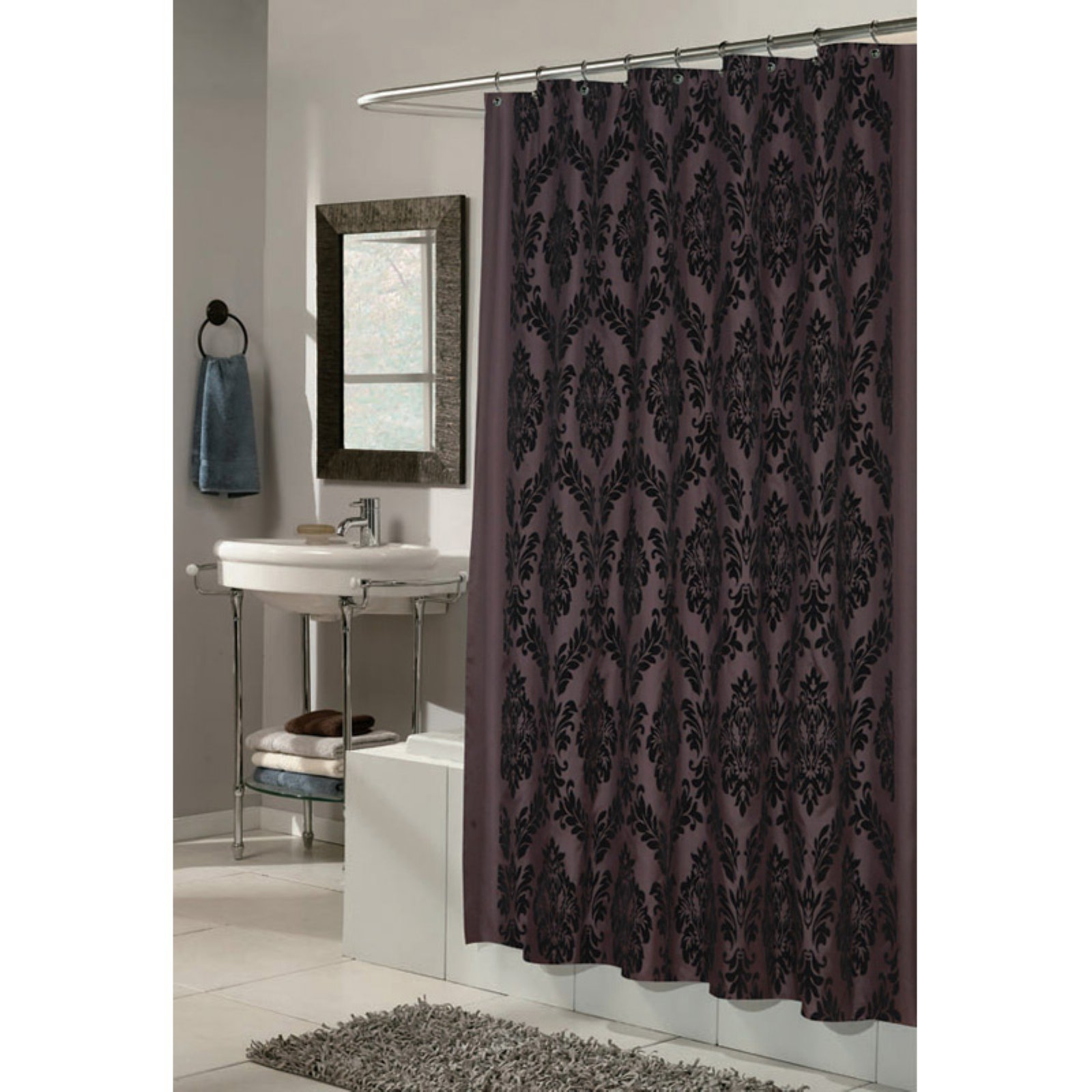 Carnation Home Fashions Regal Damask Fabric Shower Curtain