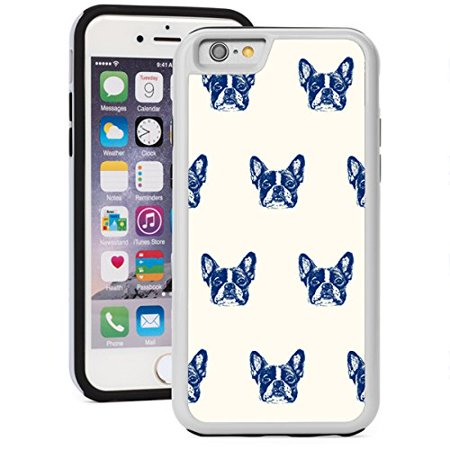 For Apple iPhone Shockproof Impact Hard Soft Case Cover Blue French Bulldog Faces Pattern (White for iPhone 7)
