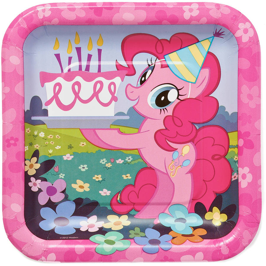 "My Little Pony 7"" Square Plate, 8 Count, Party Supplies"