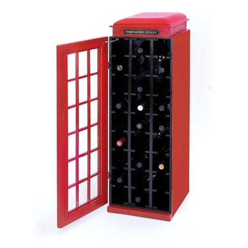 Woodland Imports English Phone Booth 27 Bottle Wine Rack