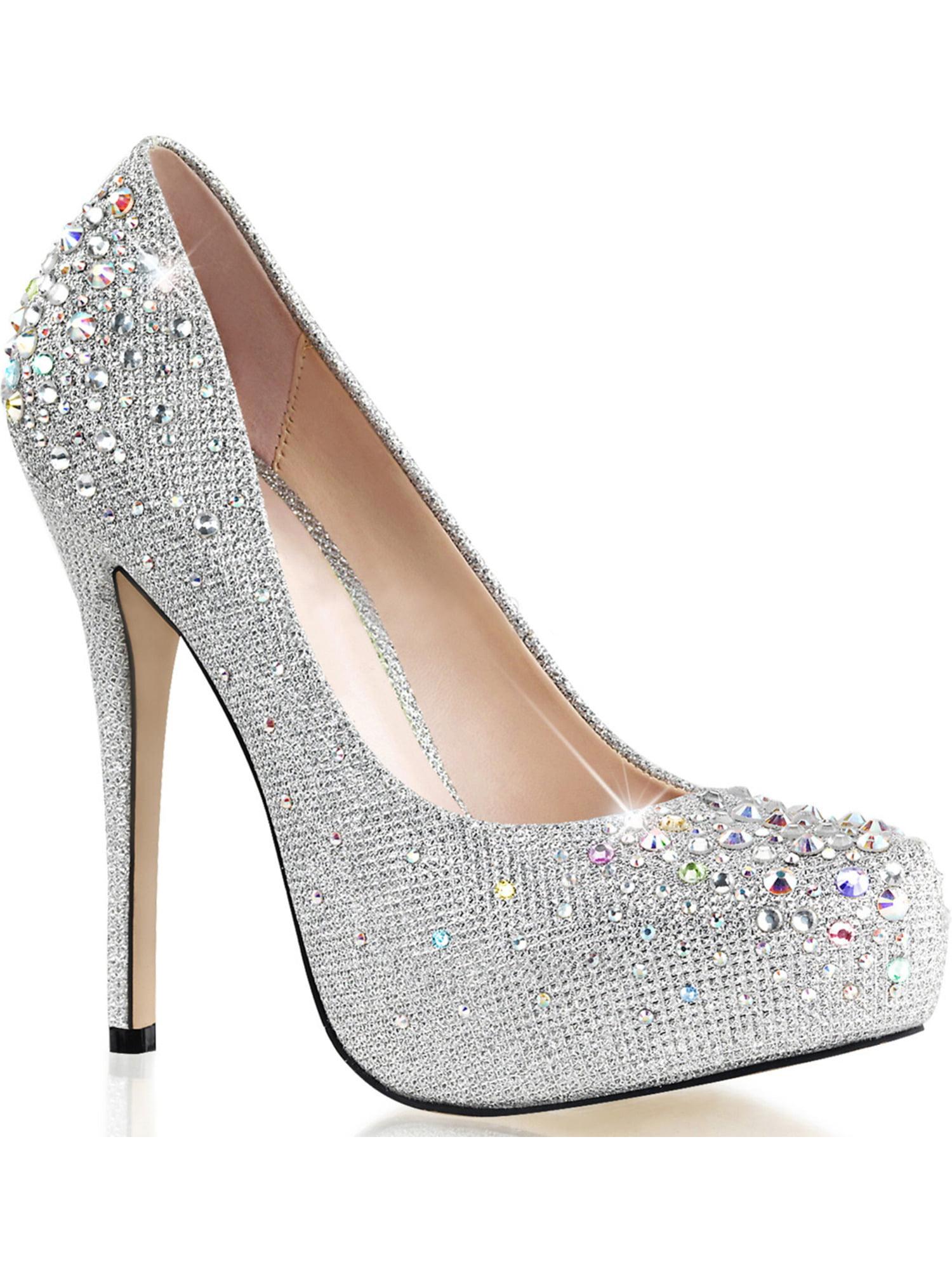 Women Silver Glitter Pumps Shoes