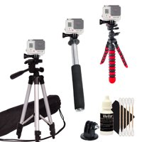 """50"""" Tall Tripod + Monopod, Flexible Tripod and Gopro Hero Mount for GoPro HERO with Free Cleaning Kit"""