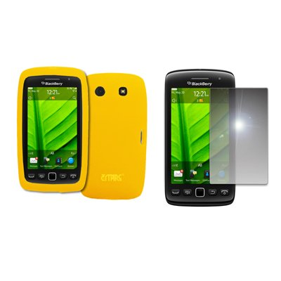 EMPIRE Yellow Silicone Skin Case Cover + Mirror Screen Protector for BlackBerry Torch 9850 ()