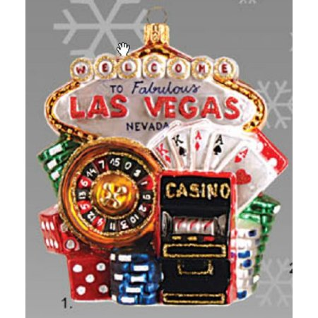 Welcome To Las Vegas Nevada Sign Polish Glass Christmas Tree Ornament Decoration