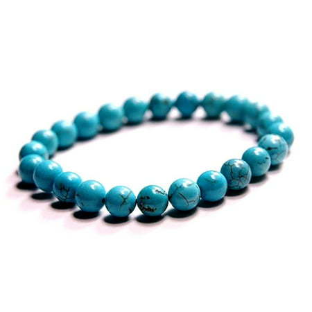 Fashion Jewelry round turquoise bead gemstone stretch bracelet - (Beaded Bracelet Fashion Jewelry)