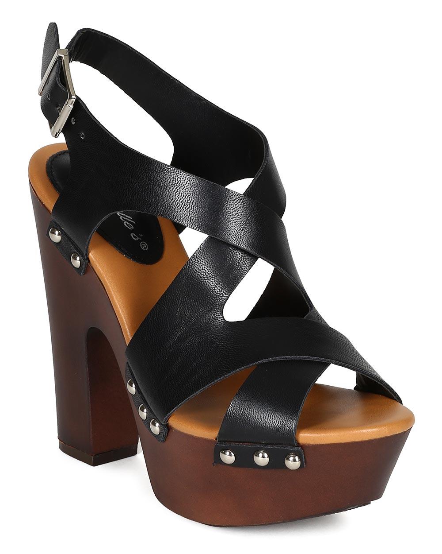 79157574601 Breckelle CK60 Women Leatherette Peep Toe Strappy Slingback Platform ...