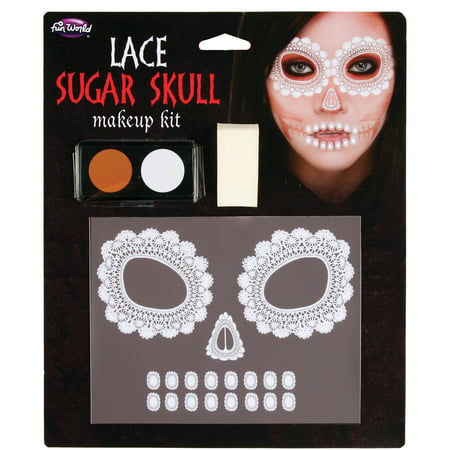 Sugar Skull Makeup Kit Adult Halloween Accessory (Womens Skull Halloween Makeup)