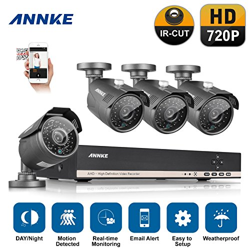 [960P-AHD] Annke 8 Channel 1080N DVR 1080P NVR Security Camera System with 4HD 960P 1.3MP Outdoor CCTV Cameras ( 1280*96