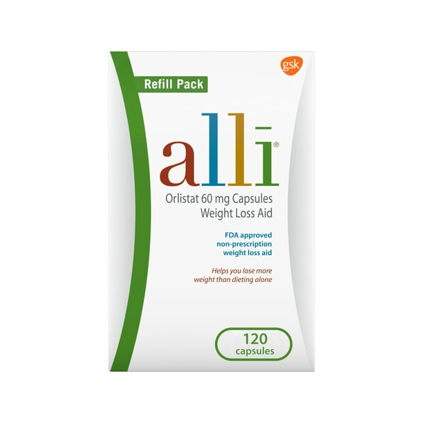 alli Diet Weight Loss Supplement Pills, Orlistat 60mg Capsules, 120 count