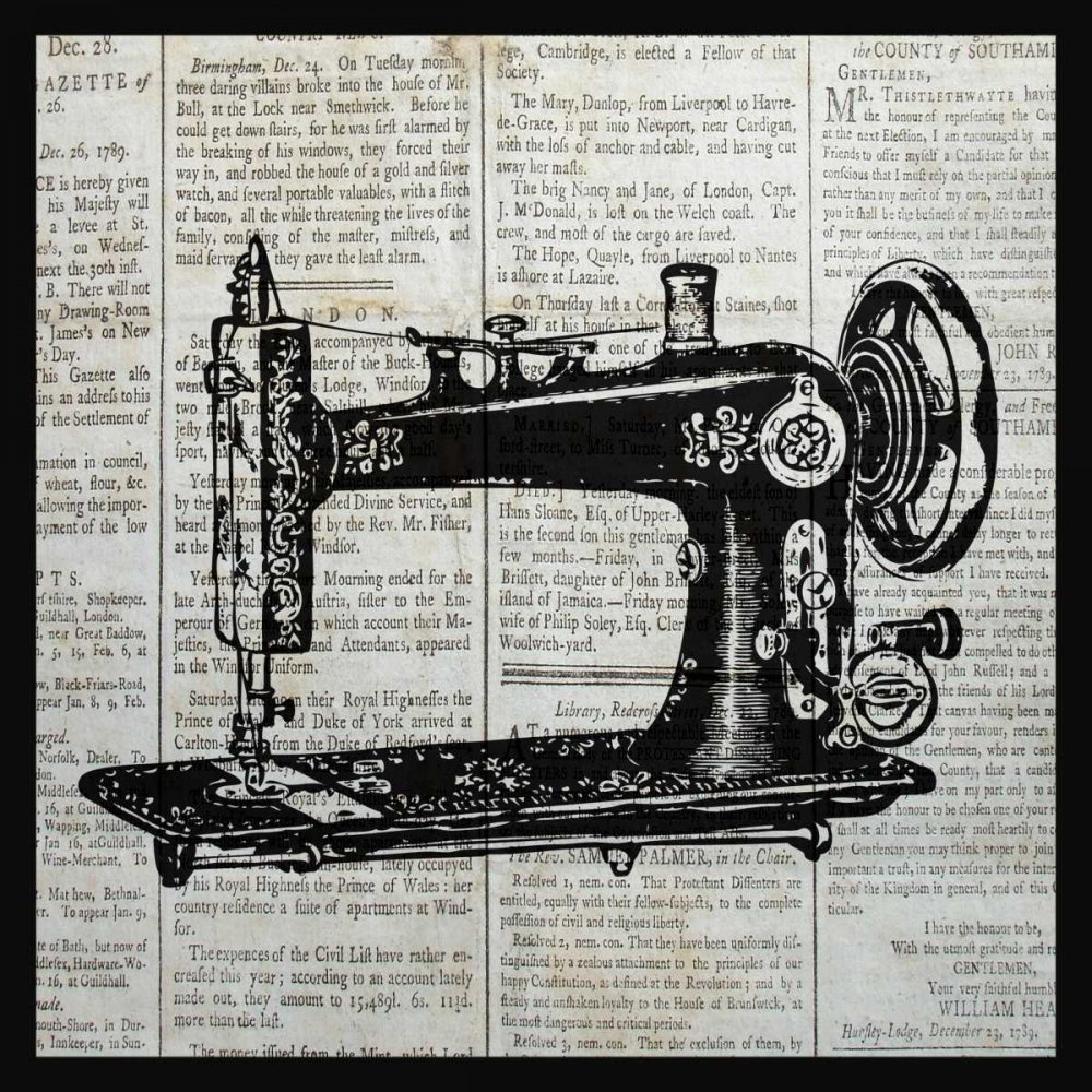 VINTAGE SEWING MACHINE Stretched Canvas - Piper Ballantyne (24 x 24)