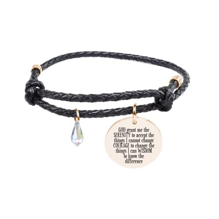 Genuine Adjustable Leather Cord Bracelet - SERENITY - Prayer Box Bracelet