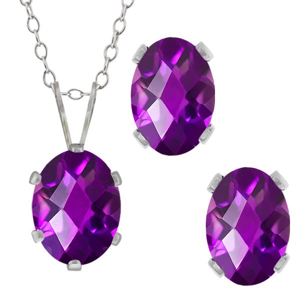 2.50 Ct Checkerboard Purple Amethyst Sterling Silver Pendant Earrings Set