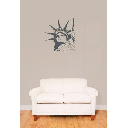 Vinyl Wall Decal Sticker : Statue Of Liberty Head New York City Ellis Island     Bedroom Bathroom Living Room Picture Art Peel & Stick Mural Size: 10 - Island New York Sticker