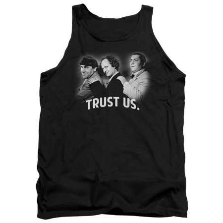 Three Stooges Slapstick Comedic Group Icons Trust Us Group Shot Adult Tank Shirt