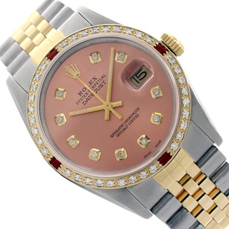 Pre-Owned Rolex Two tone Rolex Men Datejust Salmon Dial Genuine Diamond 36mm Watch (Certified Pre-owned)