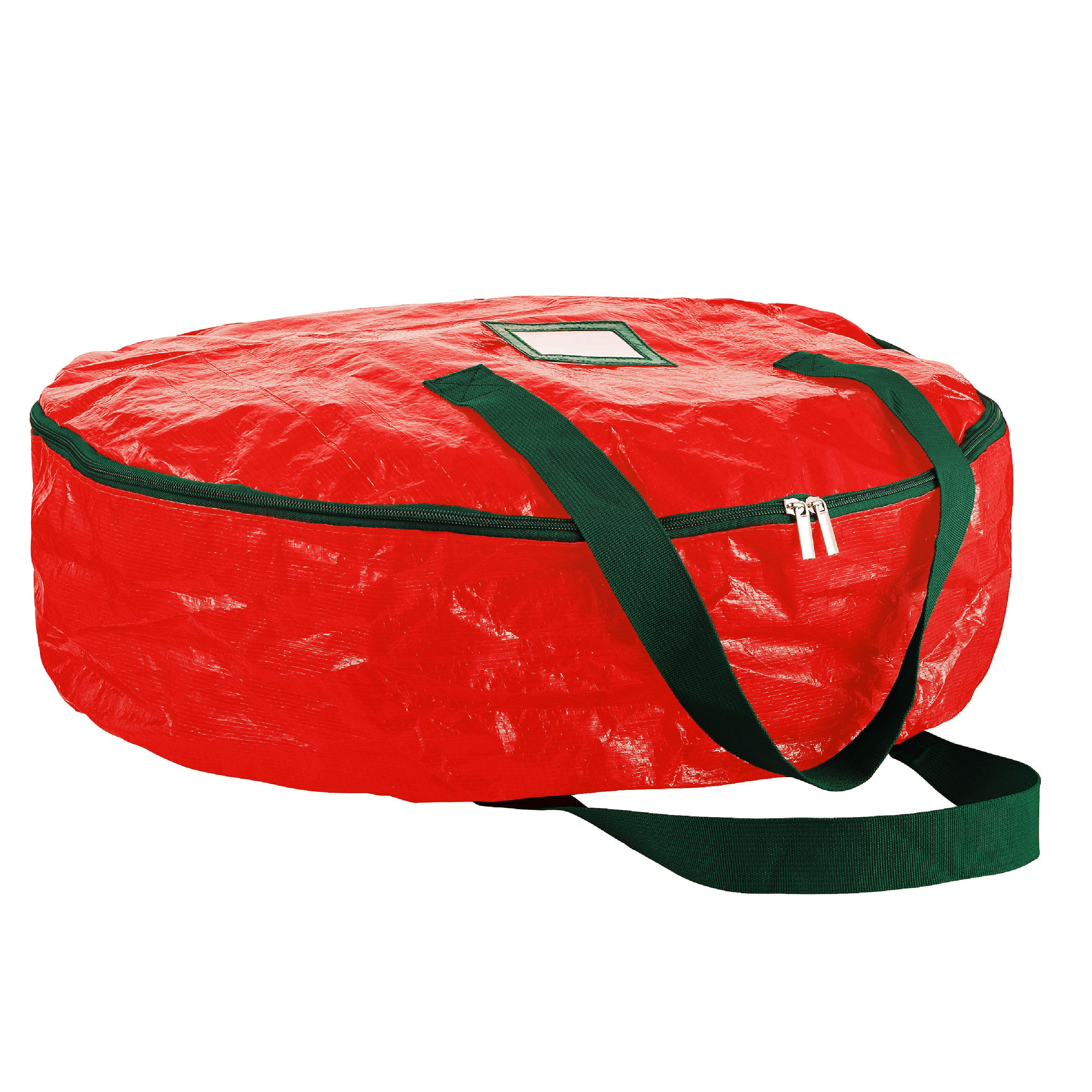 Premium Holiday Storage Bag For Chrismtas 24 in. Wreath (Red)