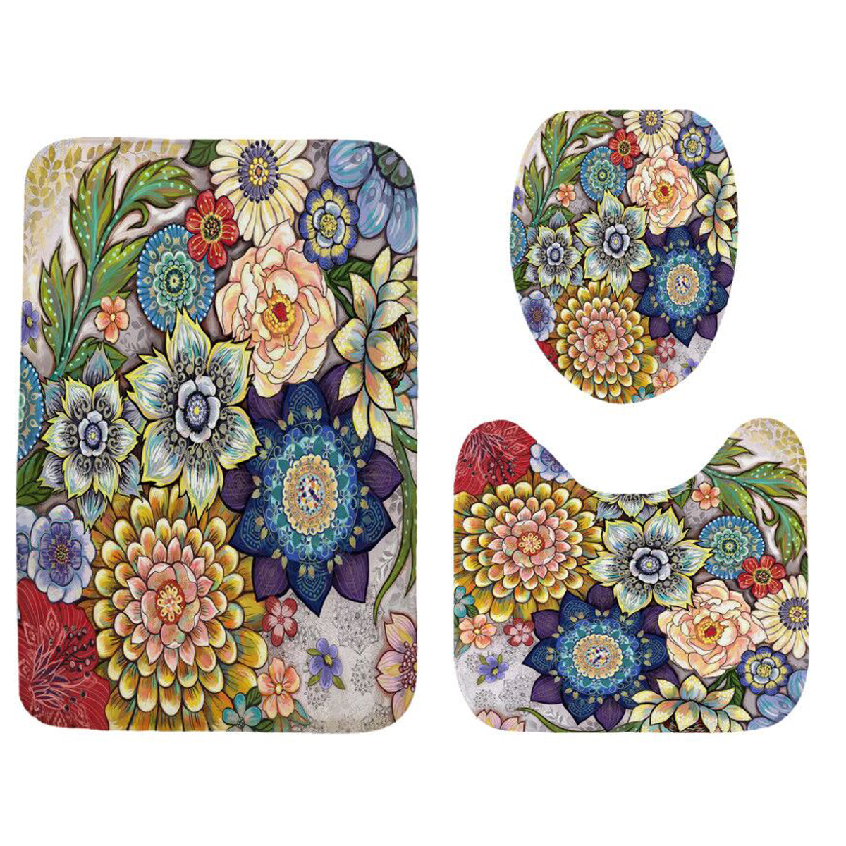 Bohemian Flowers Waterproof 71x71 Shower Curtain Or 3pcs Toilet Seat Cover Bath Mat Rugs Carpets Bathroom Set Bathroom Decor Walmart Com Walmart Com