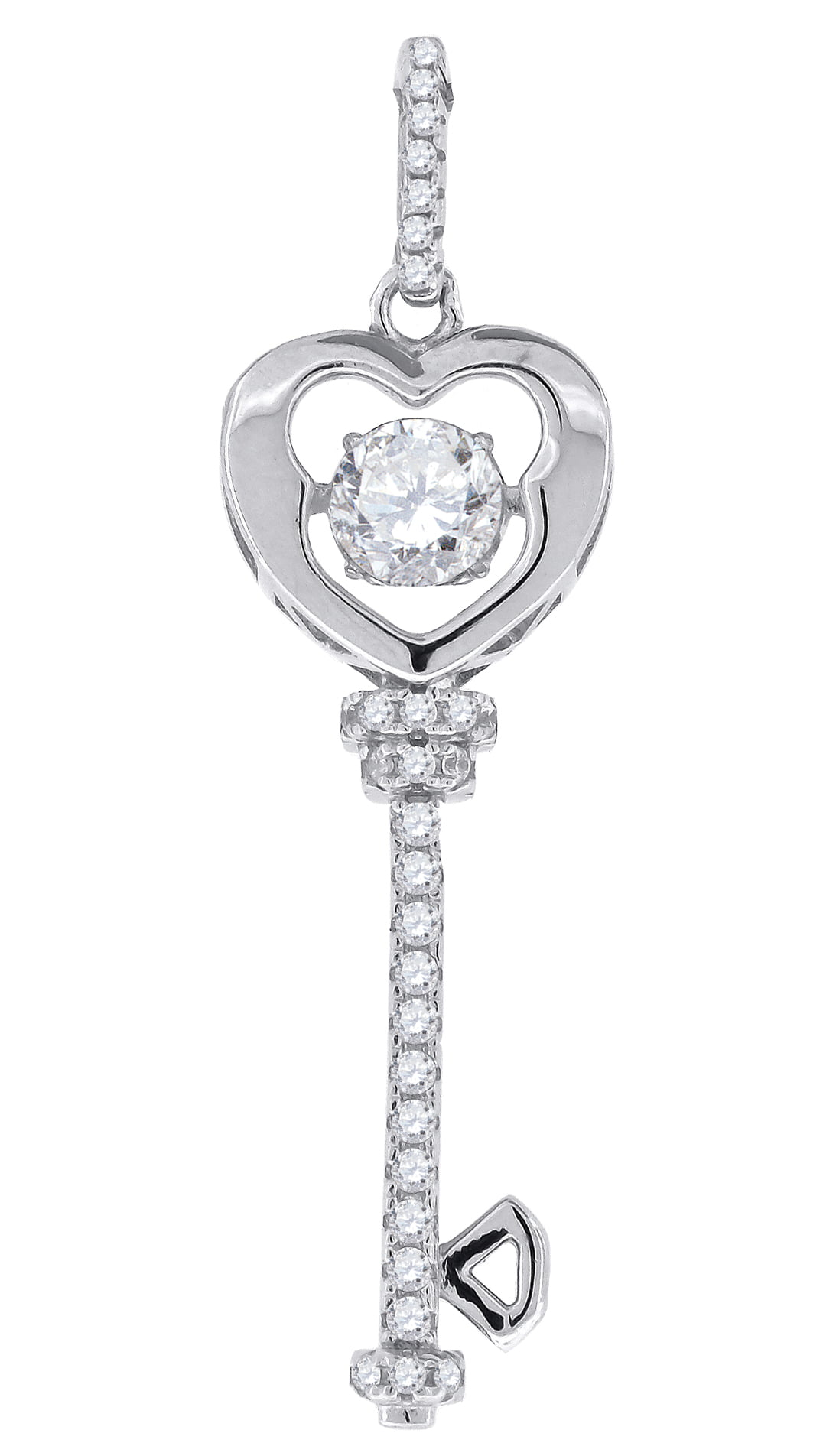 Jewels By Lux 925 Sterling Silver Womens Sparkling CZ Mom Heart Pendant Charm
