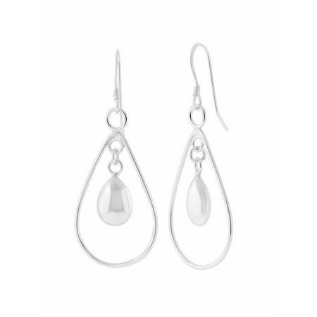 Sterling Silver Pear Shaped Puff Drop (Powder Puff Earrings)