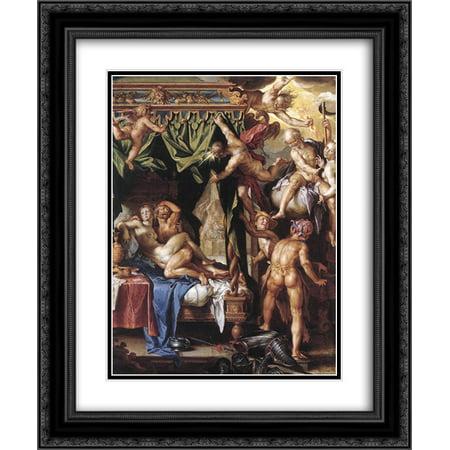 Joachim Wtewael 2x Matted 20x24 Black Ornate Framed Art Print 'Mars and Venus Discovered by the Gods'
